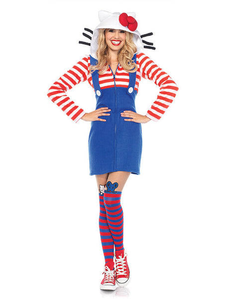Officially Licensed Hello Kitty®Striped Cozy Fleece Hoodie Dress Costume