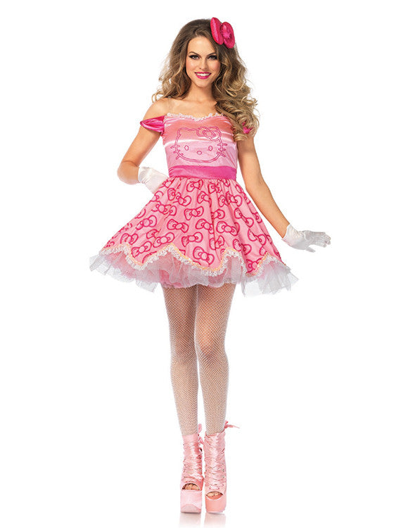 officially licensed pretty in pink hello kitty womens costume by leg avenue - Halloween Hello Kitty Costume