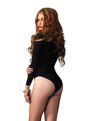 For Under Your Bambino Amore Apron, this Long-Sleeved Black Body Suit By Leg Avenue