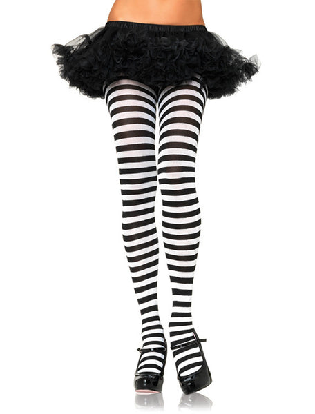 For under Your Bambion Amore Costume Apron Nylon Black and White Striped Tights by Leg Avenue
