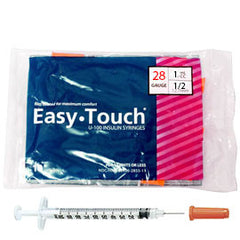 "EasyTouch Insulin Syringes - 28G 1CC 1/2"" - Polybag of 10ct"