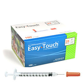 EasyTouch Insulin Syringes 29 Gauge .5CC 1/2in - BX 100