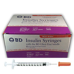 "BD Insulin Syringes Ultra Fine Needle - 3/10cc 30G 1/2"" - BX 90"