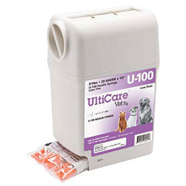 "UltiGuard UltiCare U-100 VetRx Veterinary Insulin Syringes - 29g 3/10cc 1/2"" - 100/bx"