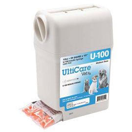 "UltiGuard UltiCare U-100 VetRx Veterinary Insulin Syringes - 29g 1/2cc 1/2"" - 100/bx"