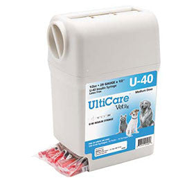 "UltiGuard UltiCare U-40 VetRx Veterinary Insulin Syringes - 29g 1/2cc 1/2"" - 100/bx"