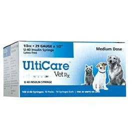 UltiCare Veterinary U 40 Insulin Syringes - 29 Gauge 1/2 cc 1/2 inch Box of 100