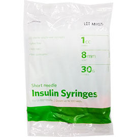 "UltiCare Ulti-Thin II U-100 Insulin Syringes - Short Needle - 30G 1 cc 5/16"" - Polybag of 10 Ct"