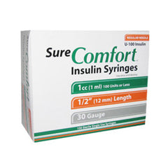 "SureComfort U-100 Insulin Syringes - 30G 1cc 1/2"" - BX 100"