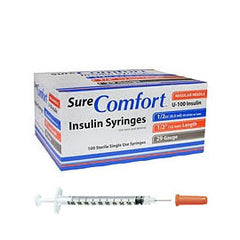 "SureComfort U-100 Insulin Syringes - 29G 1/2cc 1/2"" - BX 100"