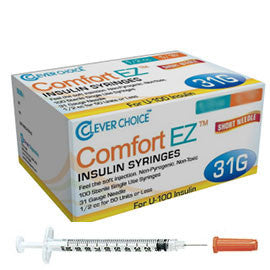 "Clever Choice Comfort EZ Insulin Syringes - 31G U-100 1 cc 5/16"" - BX 100"