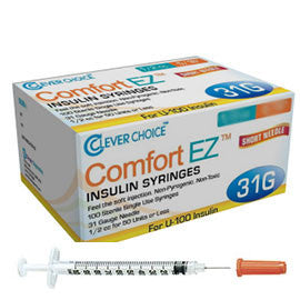 "Clever Choice Comfort EZ Insulin Syringes - 31G U-100 3/10 cc 5/16"" - BX 100"