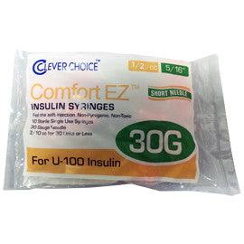 "Clever Choice Comfort EZ Insulin Syringes - 30G U-100 1/2 cc 5/16"" - Polybag of 10 Ct"