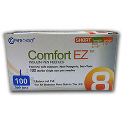 "Comfort EZ Pen Needles Short - 31G 8mm 5/16"" - BX 100"