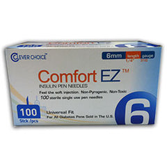 "Comfort EZ Pen Needles - 31G 6mm 1/4"" - BX 100"