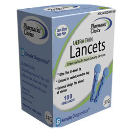 Simple Diagnostics Ultra Thin Lancets - 31g - Box of 100
