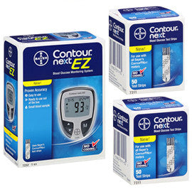 Bayer Contour Next EZ Glucose Meter Kit Meter Kit Combo (Meter Kit and Test Strips 100ct)