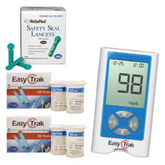 Easy Trak Blood Glucose Monitor Meter Kit Combo (Meter Kit, Test Strips 100ct and Reliamed Safety Seal Lancets 100ct)