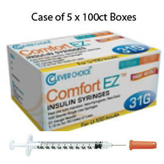 "Case of 5 Clever Choice Comfort EZ Insulin Syringes - 31G U-100 1 cc 5/16"" - BX 100"