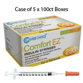 "Case of 5 Clever Choice Comfort EZ Insulin Syringes - 29G U-100 1/2 cc 1/2"" - BX 100"
