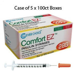 "Case of 5 Clever Choice Comfort EZ Insulin Syringes - 28G U-100 1 cc 1/2"" - BX 100"