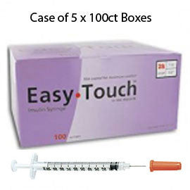 "Case of 5 EasyTouch Insulin Syringe - 28G 1CC 1/2"" - BX 100"