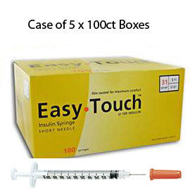 "Case of 5 EasyTouch Insulin Syringe - 31G 1CC 5/16"" - BX 100"