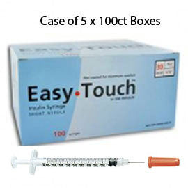 "Case of 5 EasyTouch Insulin Syringe - 30G 1CC 1/2"" - BX 100"