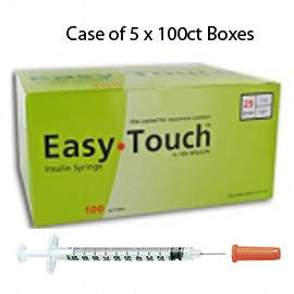 "Case of 5 EasyTouch Insulin Syringe - 29G 1CC 1/2"" - BX 100"