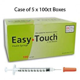"Case of 5 EasyTouch Insulin Syringe - 29G .5CC 1/2"" - BX 100"