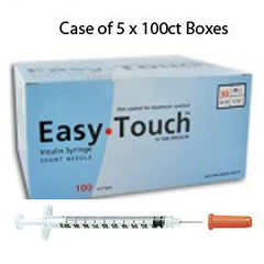 "Case of 5 EasyTouch Insulin Syringe - 30G .5CC 1/2"" - BX 100"