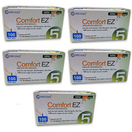 "Comfort EZ Pen Needles Mini - 31G 5mm 3/16"" - BX 100 - Case of 5"