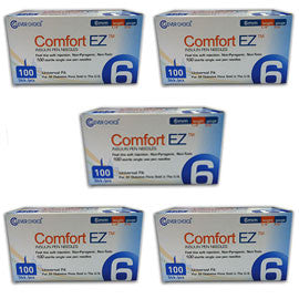 "Comfort EZ Pen Needles - 31G 6mm 1/4"" - BX 100 - Case of 5"