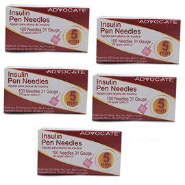 "Advocate Mini Pen Needle - 31G 5mm 3/16""- BX 100 - Case of 5"
