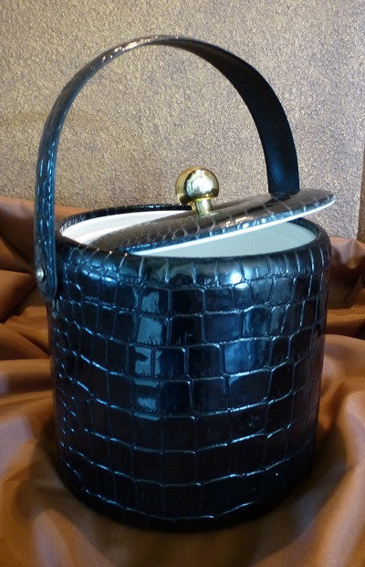 Georges Briard Black Vinyl Ice Bucket Lid Open