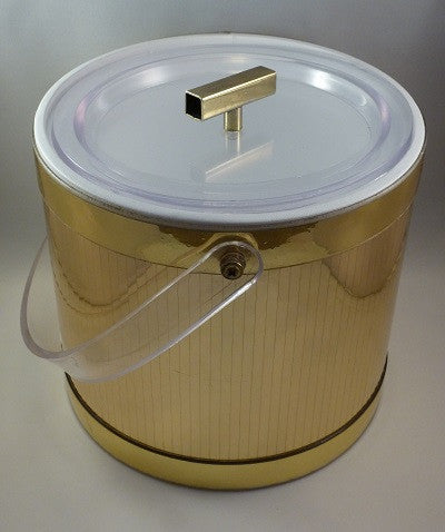Georges Briard gold vinyl ice bucket alternate view