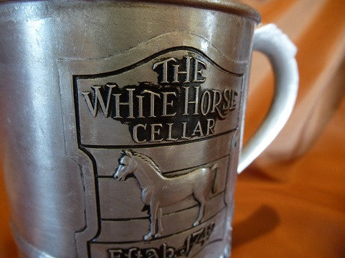 Collectors White Horse Metal Pitcher