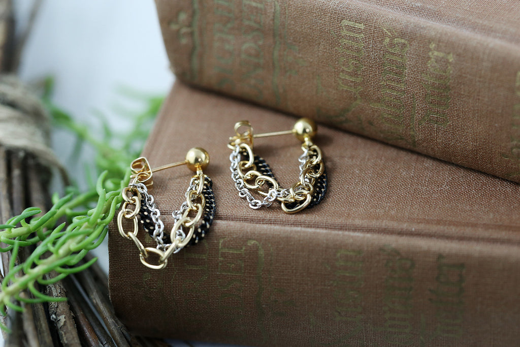 """Trilogy"" Chain Loop Earrings"