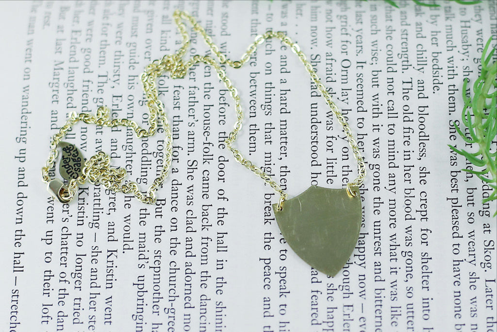 """Be Brave"" Shield Necklace"
