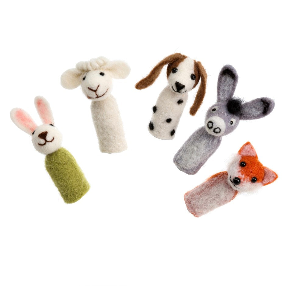 Animal Party Felted Finger Puppets (set of 5)