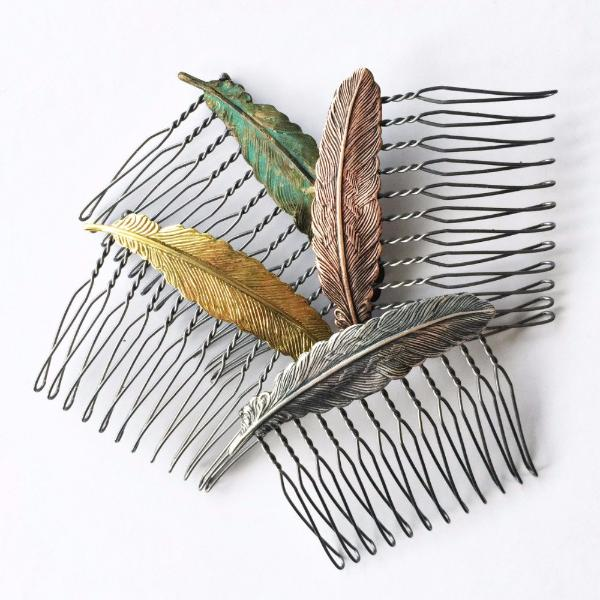 """Floating Feather"" Hair Comb"