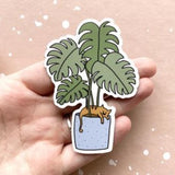 Plant & Cat Vinyl Sticker