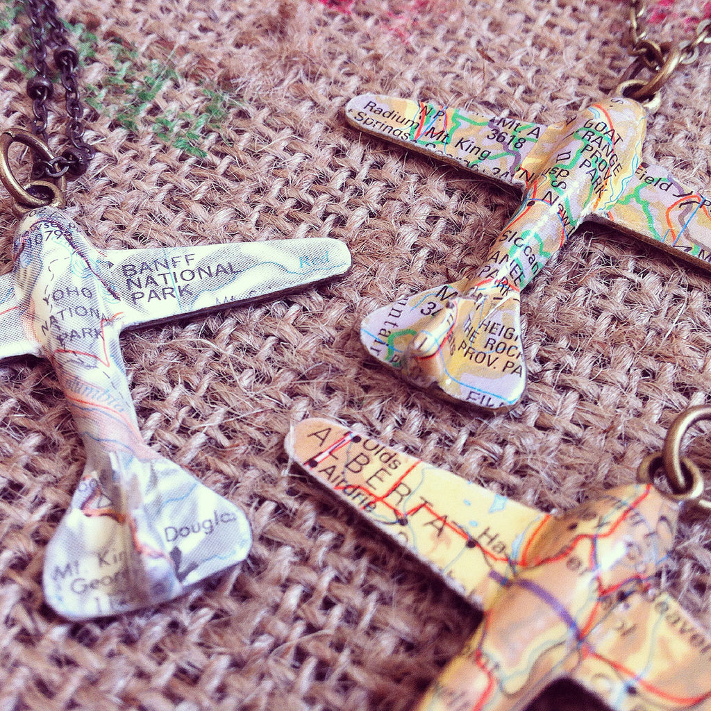 Custom Map Plane Necklace