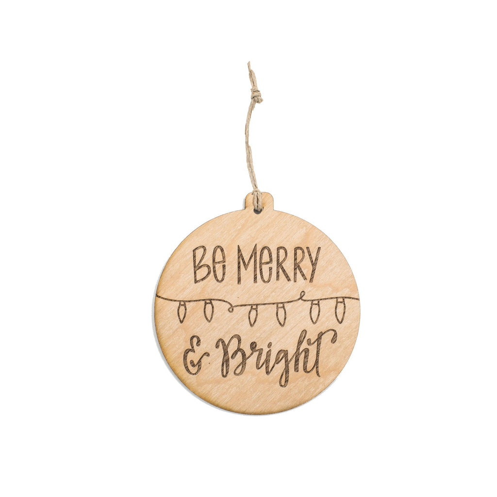 """Merry & Bright"" Wooden Ornament"