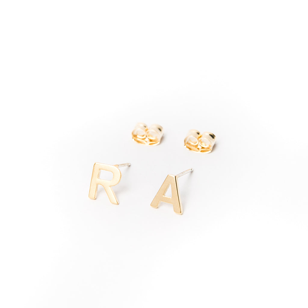 """Initial Here"" Stud Earrings - CAPITALS"