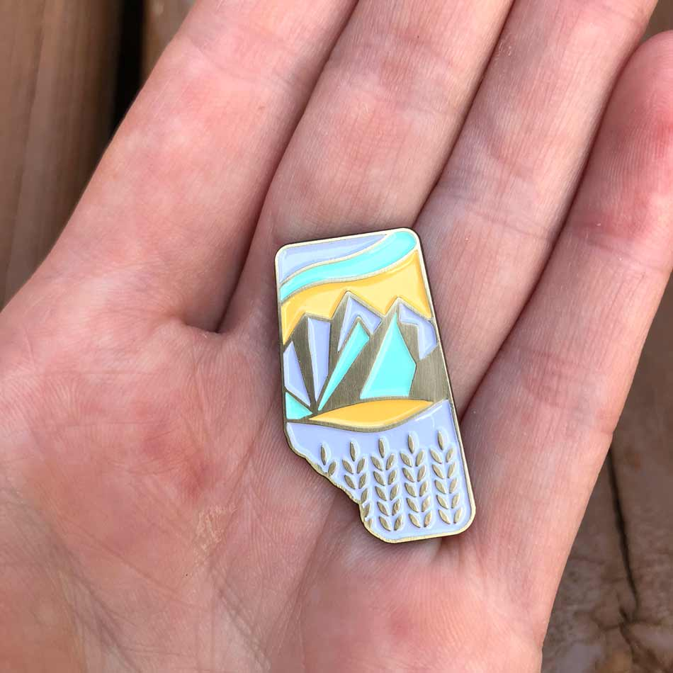 Brick Bubble Alberta Crest Pin