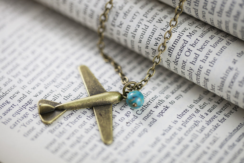 """Travel Junkie"" Airplane Necklace"