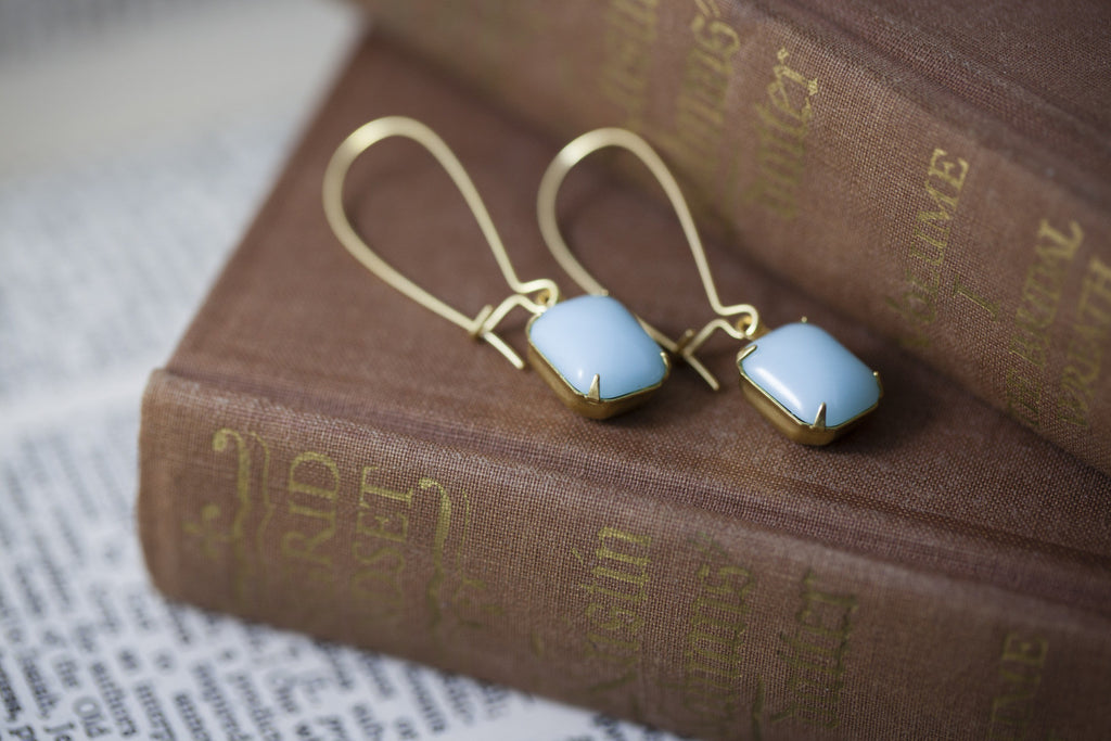 """Sky Drop"" Vintage Glass Earrings"
