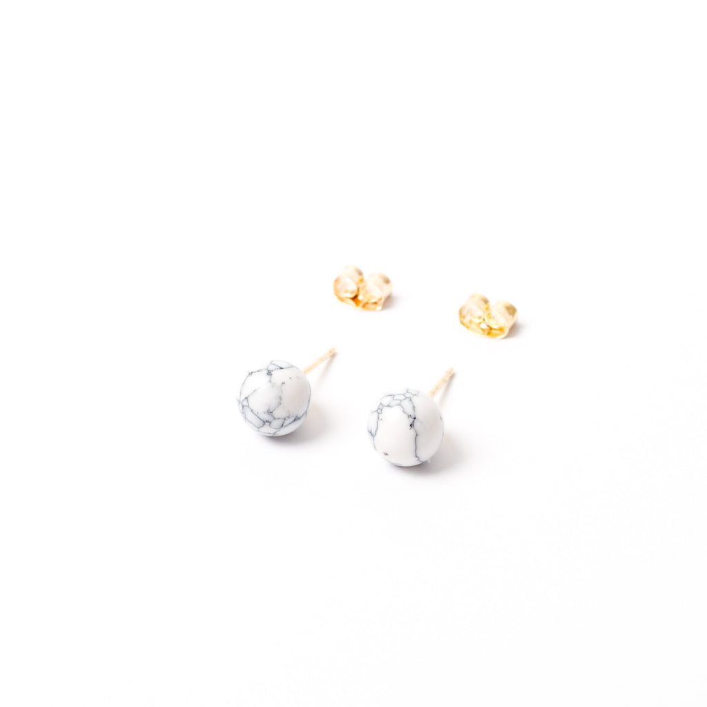 """Happy Howlite"" Stud Earrings"