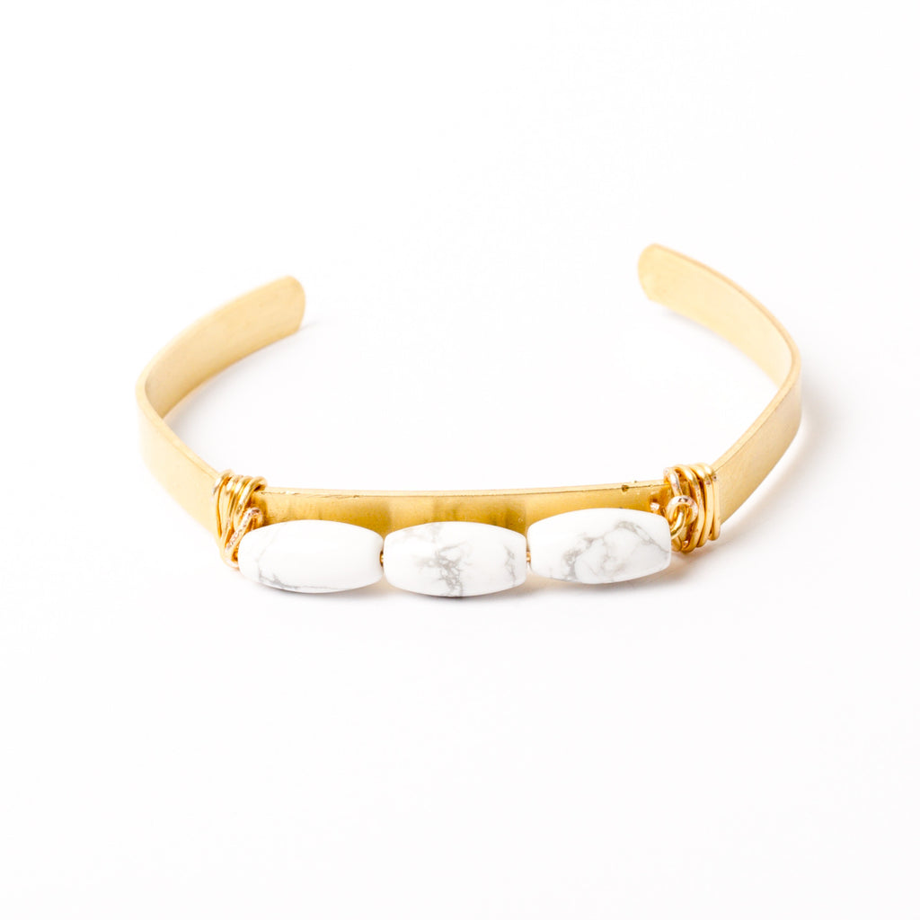 """Three's A Crowd"" Howlite Cuff Bracelet"